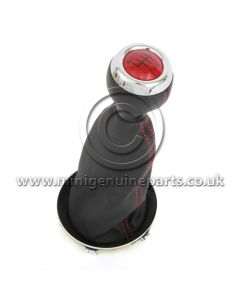 JCW GP2 Red Top Gearknob & Black Leather Gaitor with Red Stitching - Chromeline - R55/R56/R57