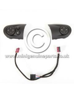 Matt Black Multi Function Steering Wheel Trims, Left & Right - Facelift