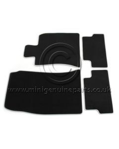 R56 Velour Front & Rear Floor Mat Set - Camden with White Edge -R55/56/57 ONLY RHD (UK)