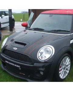 JCW 2011 Bonnet Stripe Set - Black with Red Pinstripe - PAIR