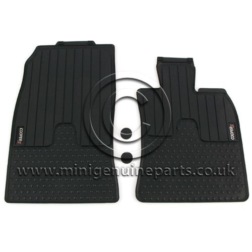 Rubber Front Floor Mats with MINI Cooper S logo - R55/R56/R57 ONLY - RHD (UK)