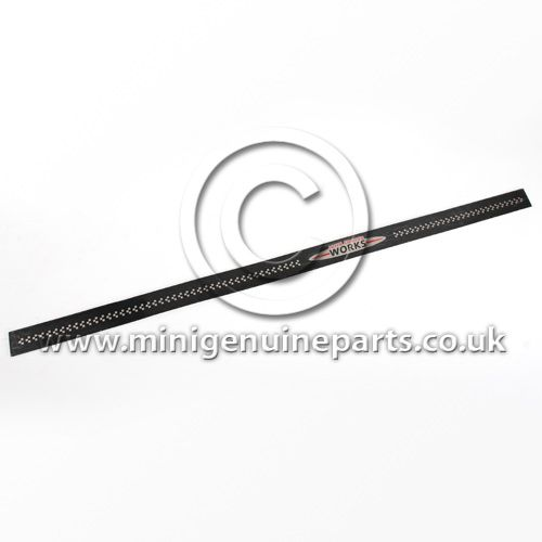 JCW Black Metal Door Entry Strip - R55 Clubman Long for ClubDoor - JCW Logo with Chequers, each