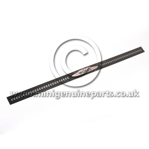JCW Black Metal Door Entry Strip - R56/R57 - JCW Logo with Chequers, each